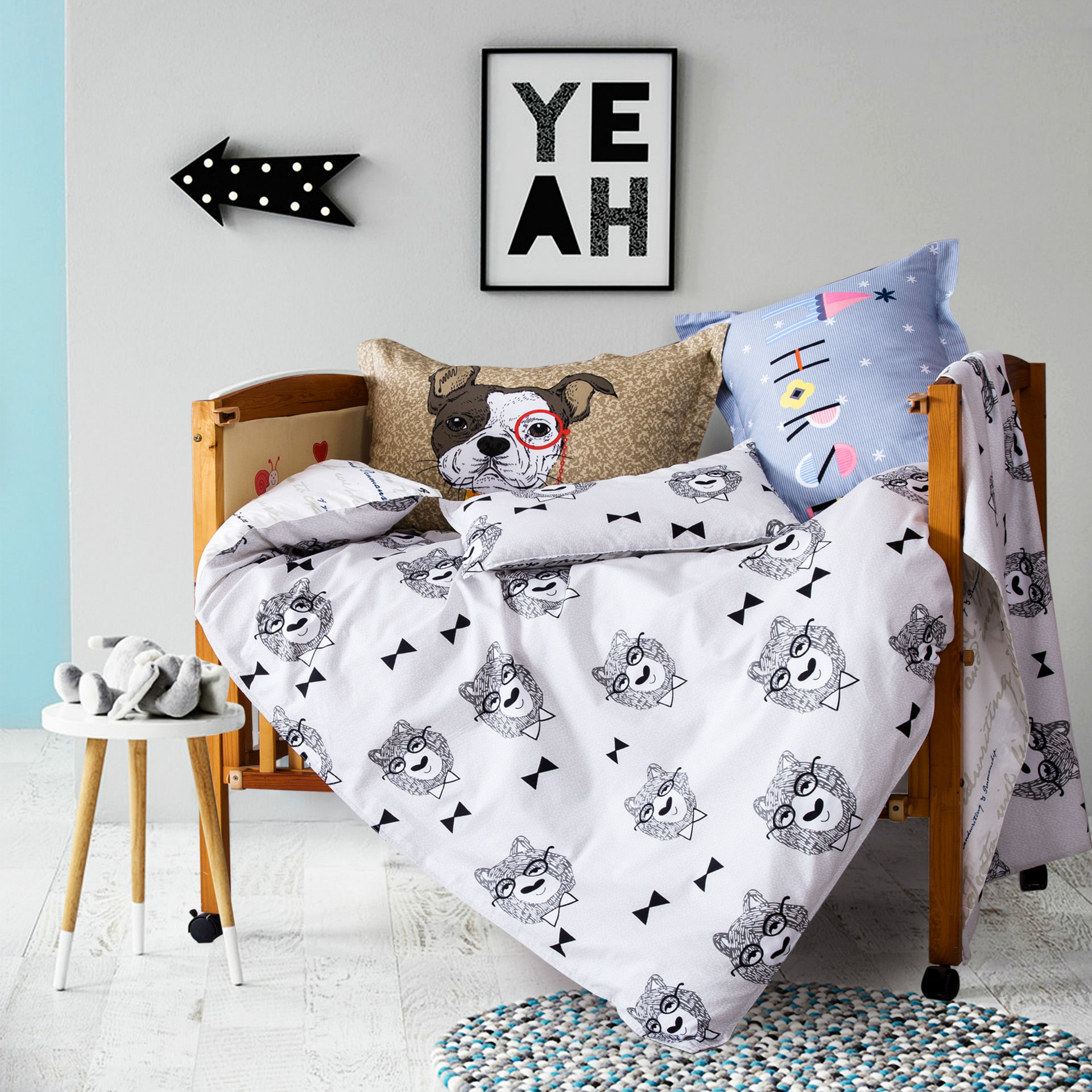 3pcs set for baby bed crib bedding set baby bedding Cartoon design for girls boys bedding duvet / quilt cover pillowcase sheet colorful bedding star and moon duvet cover set 3pcs