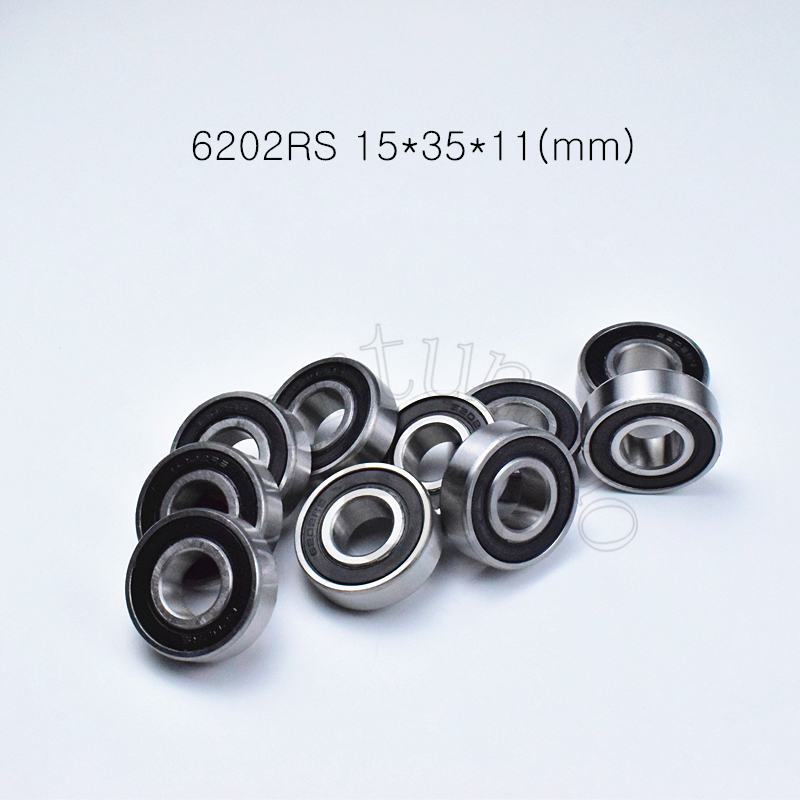 6202RS 15*35*11(mm) 1Piece Bearings ABEC-5 Rubber Sealing Bearings Free Shipping 6202 6202RS Chrome Steel Deep Groove Bearing