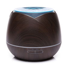 Ultrasonic air humidifier 400ml Aromatherapy machine Aroma Essential Oil Diffuser with Wood Grain 7 Color Changing LED Lights