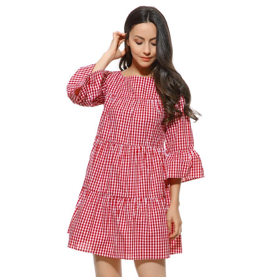 snowshine YLI Plus Size Womens Clothing Plaid Pleated Dress Summer Loose Casual Lattice Dress free shipping