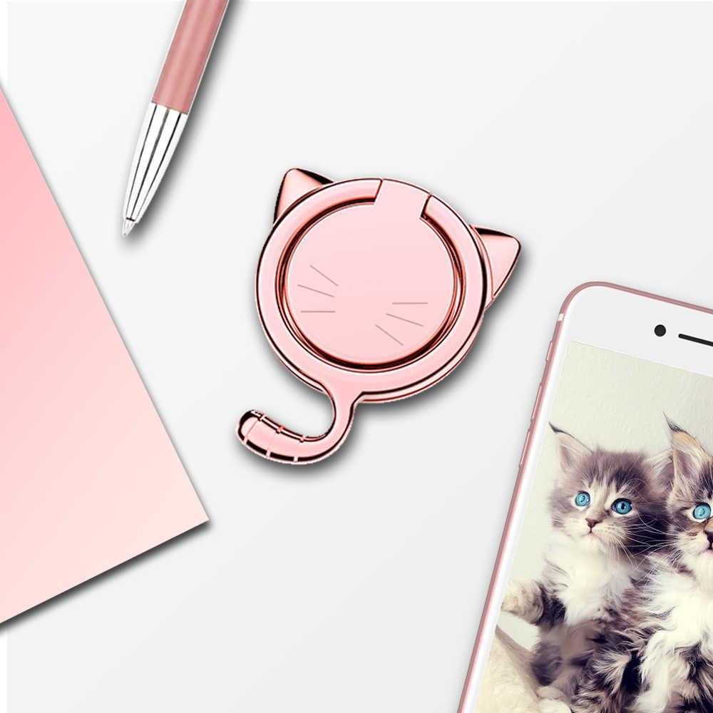 ビッグ猫 360 度回転携帯電話ホルダーフィンガーリング携帯電話スタンドホルダー iPhoneX 8 XR シャオ mi mi すべてのスマートフォンホルダー