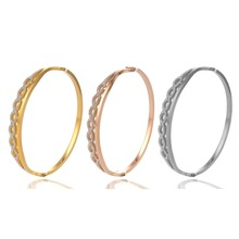 Titanium Bangles Bracelets For Women Lover Stainless Steel bracelet Crystal Gold Color Women  Gift jewelry RLSSB017 new arrival spring wire line colorful titanium steel bracelet stretch stainless steel cable bangles for women