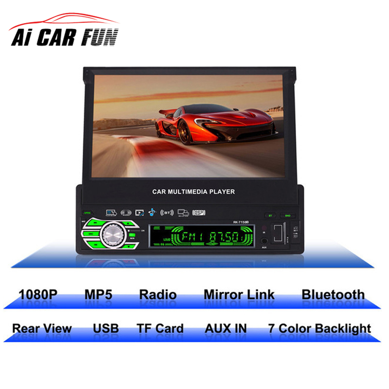RK-7158B 1 Din MP5 Player HD 7 inch Retractable Touch Screen AM/FM Stereo Radio Tuner Car Monitor Bluetooth SD/USB rk 7157b 7inch 2din car mp5 rear view camera fm am rds radio tuner bluetooth media player steering wheel control