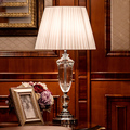 Modern K9 Crystal Bedroom Table Lamp Fabric Lampshade Living Room Decoration Abajur Table lamp For Bedroom Lamparas De Mesa