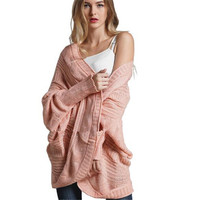 WKOUD Pink Sweater Women Fashion Solid Irregularity Knitted Open Stitch Coats New Sexy Loose OL Cardigans 2019 Streetwear Y8086