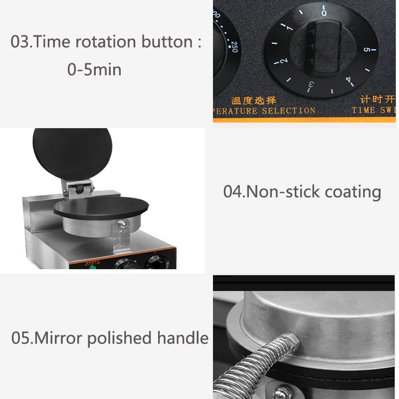 Waffle Makers Yu-2 Commercial Double Head Stainless Steel Ice Cream Cone Baker Machine Waffle Cone Egg Roll Making Machine 220v 1pc Home Appliances