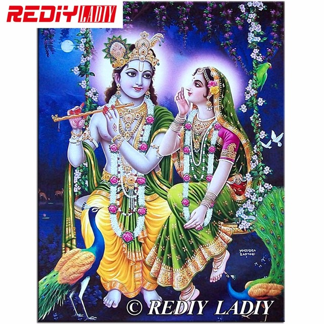 diy diamond painting crystal radha krishna peacock 3d cross stitch