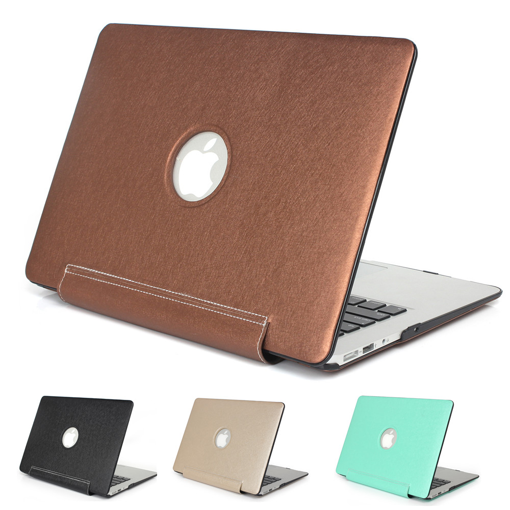 Laptop Sleeves Covers Cases PU Leather For Macbook Air Pro Retina 11 12 13 15 Inch Hollow Out Logo High Quality Free Shipping