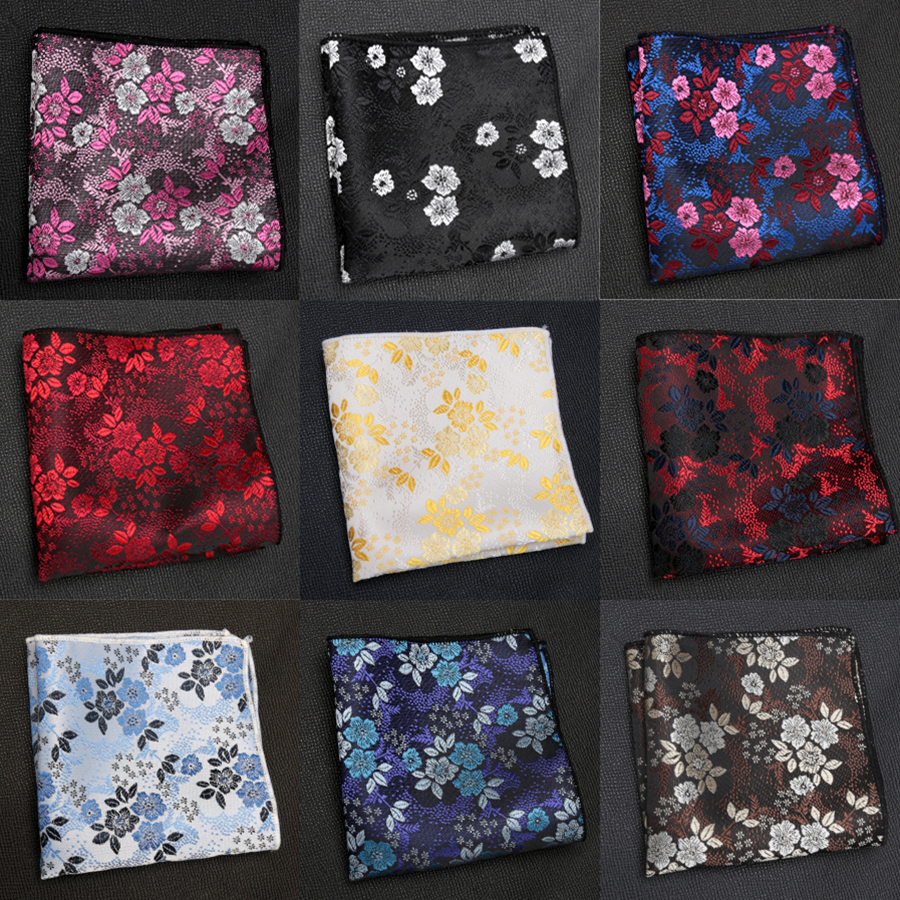 Mens Luxury Handkerchief Jacquard Flower Hankies Tie For Men Hanky Pocket Square Chest Towel Fashion Formal Accessories Cravat
