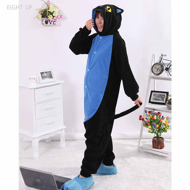 40e0844ea6 Black Midnight Cat Kigurumi Onesie Cosplay Costumes Unisex Sleepsuit Adults  Cartoon Pajamas Animal Sleepwear Nightgown clothing