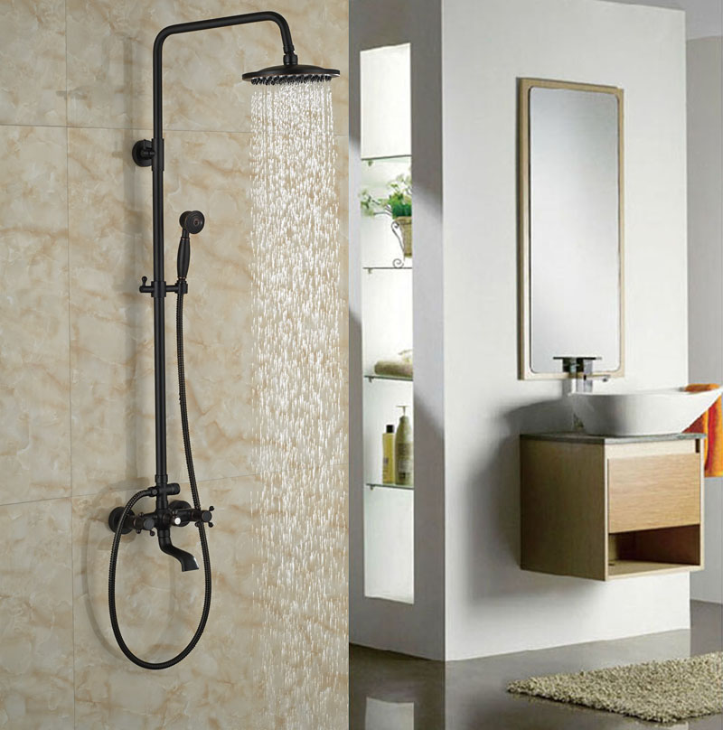 Wall Mounted Oil Rubbed Bronze Shower Set Double Handles With Hand Shower Bath Tub Rainfall Shower