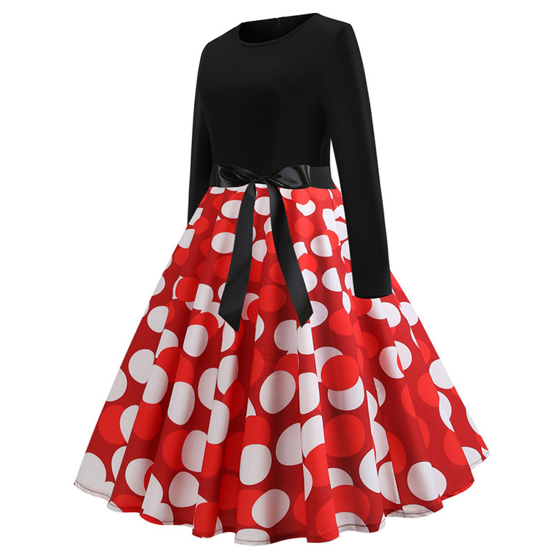 Plaid Print Vintage Dress Women 19 Christmas Casual Robe Femme Plus Size Dress Elegant Party Dresses Long Sleeve Vestidos 43