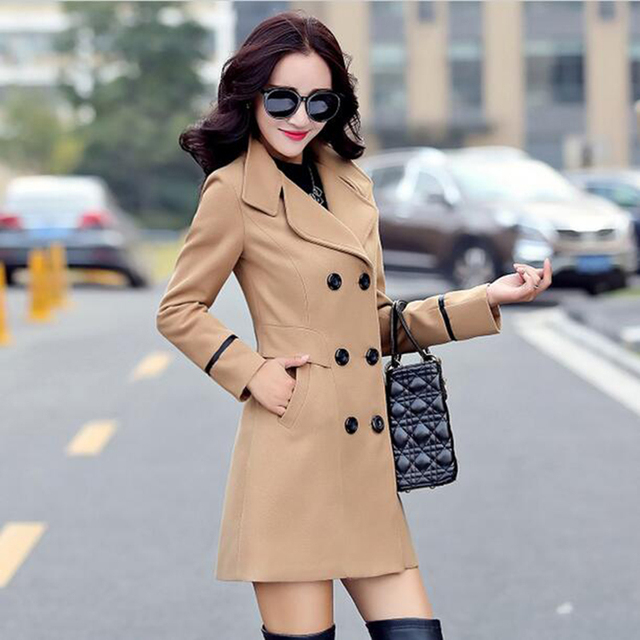 Autumn winter Wool Coat Double Breasted Elegant Jacket 3