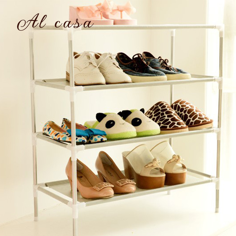 Hot sell simple shoe cabinet shoe rack shoe shelf Stainless + Nonwovens store shoes 2~5 layers free shipping 4 layers of simple dust proof moisture proof shoe rack thick non woven stainless steel shoe free assembly of home furniture