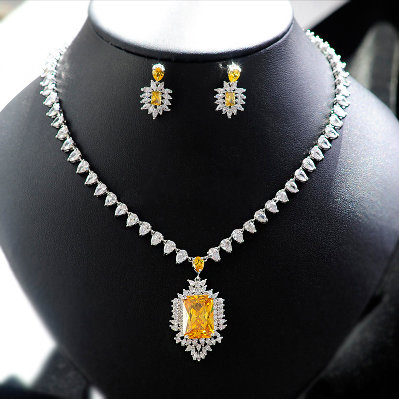 Women Crystal Bridal Jewelry Sets Stud Earrings Necklace Wedding Evening Party Accessory Blue Yellow Red Green