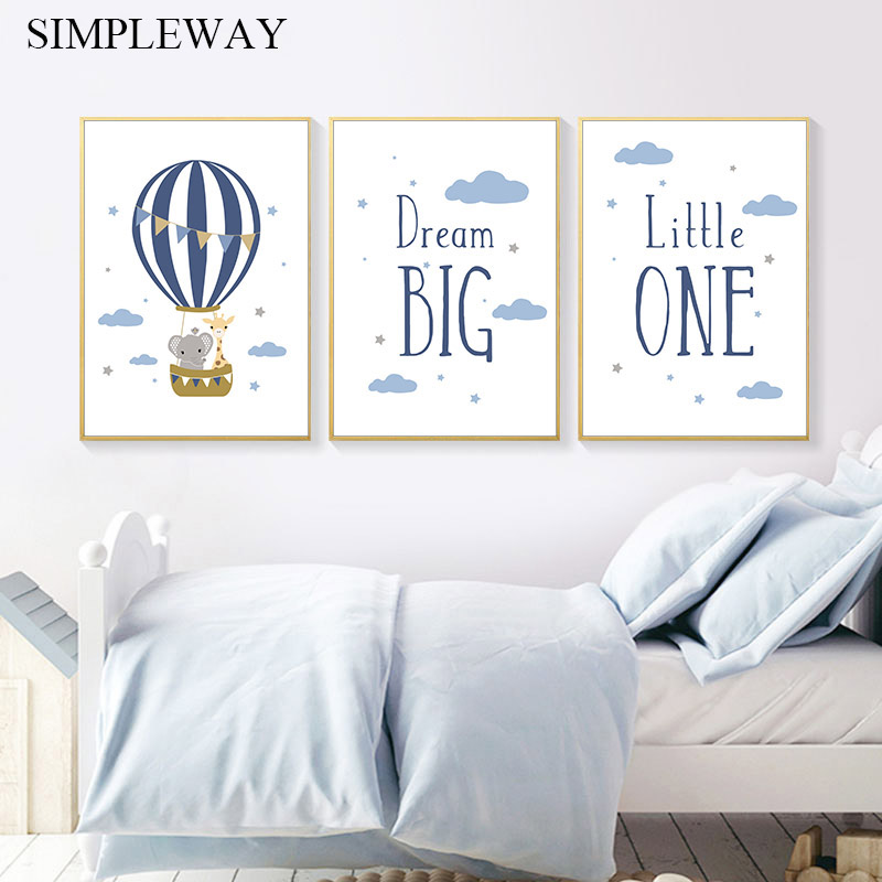 Cure Elephant Giraffe Animal Child Poster Nursery Quotes Wall Art Canvas Poster Simple Painting Baby Kid Room Decoration Picture