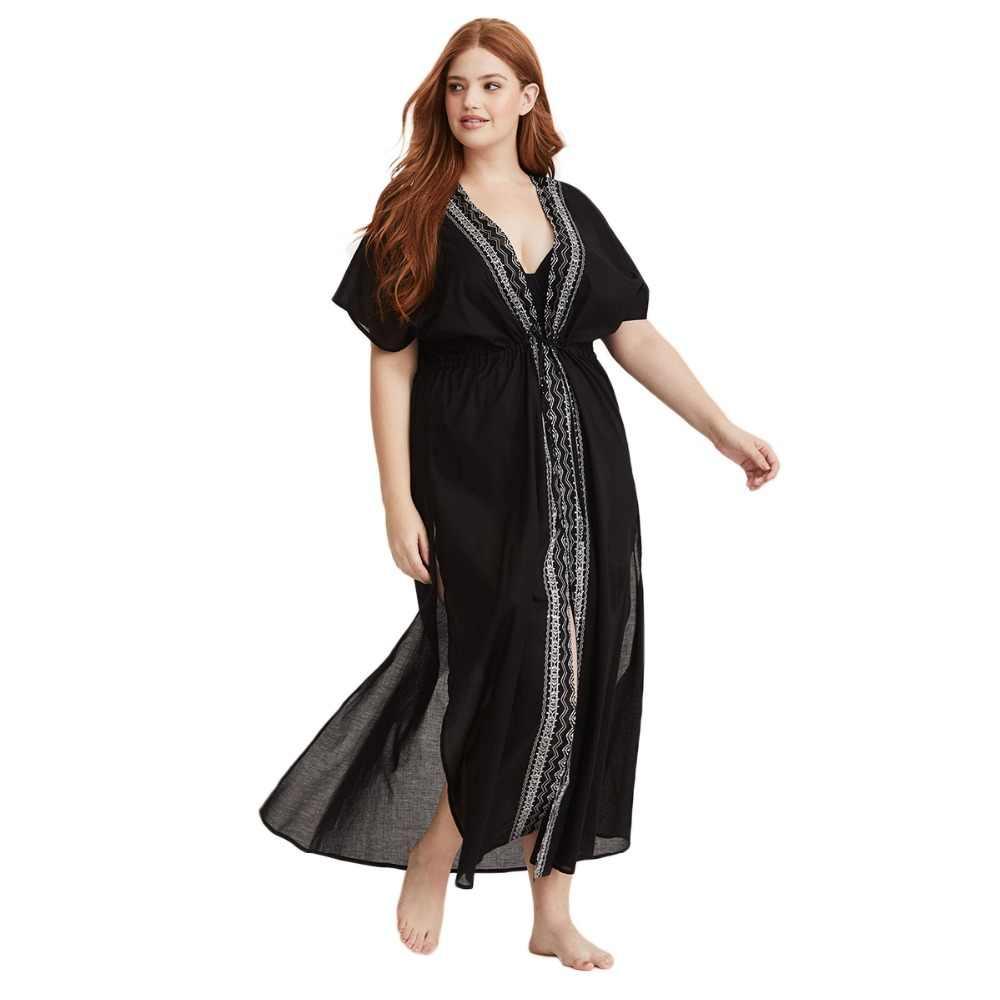 750d942cc6c903b Плюс Размеры глубоким v-образным вырезом на шнуровке богемное платье Для  женщин летние свободные Повседневное