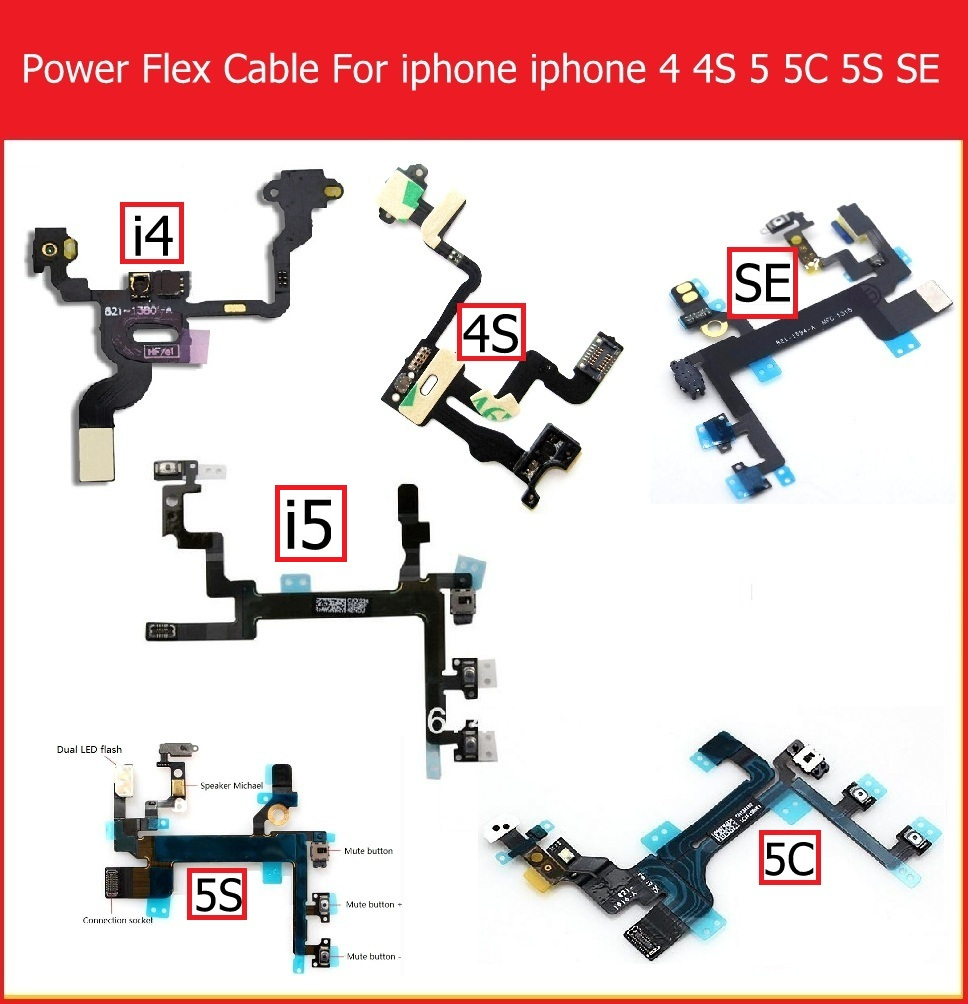 Genuine Mute&Volume&Power Flex Cable For IPhone 4 4S 5 5S 5C SE Volume &power Switch On/off Button Flex Ribbon Replacement Parts