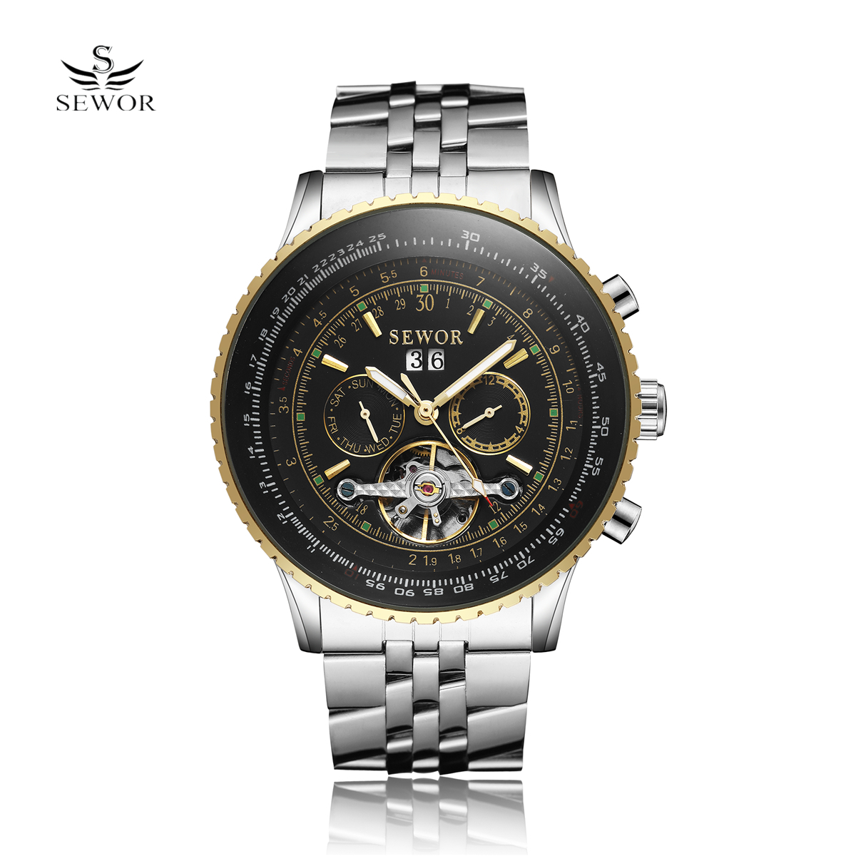 SEWOR Tourbillon Automatic Mechanical Full Steel Watchband Hollow Cool Stylish Chronograph Design Classic Mens Skeleton Watch sewor classic hollow dial clock fast
