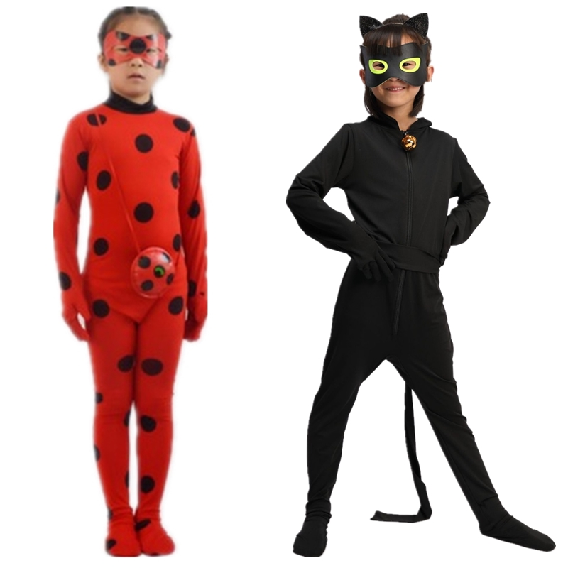 Lady Bug Costume,New Ladybug Party Kids Boys Clothing Sets Black Cat Noir Carnival Cosplay For Adults Men Jumpsuit+Mask Costume