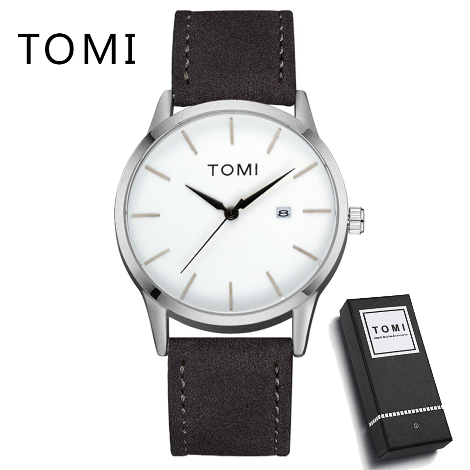 Tomi Men Watch Top Brand Luxury Male Leather Waterproof Sport Quartz Calendar Military Wrist Watch Men Clock Relogio T015 men watches top brand luxury hour round clock male fashion casual quartz watch tomi men leather strap sport wrist watch