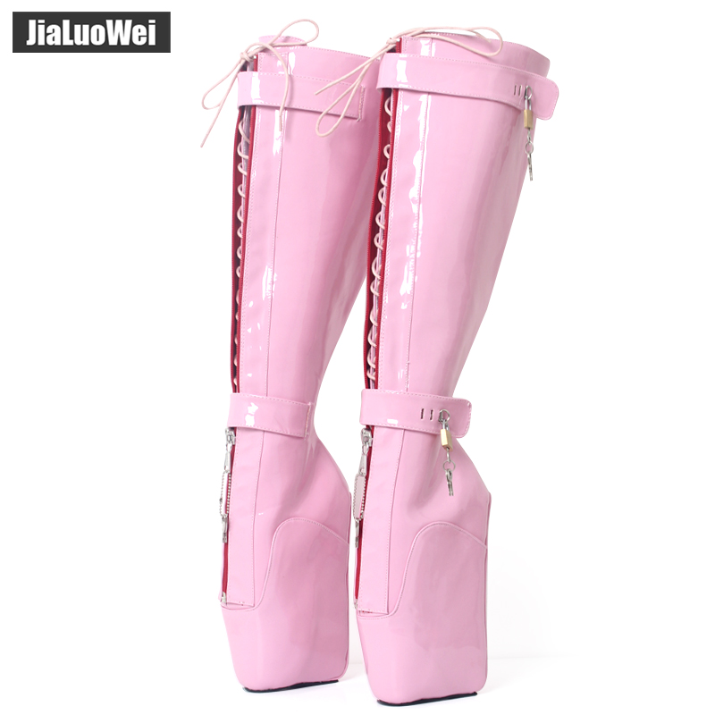 jialuowei NEW Women Sexy Boots 18cm High Wedge Heel Heelless Sole Lockable Zipper padlocks Knee-High Ballet Boots Unisex Shoes jialuowei brand new high heel 7 18cm wedges heel ballet boots sexy fetish lace up patent leather knee high long boots plus size