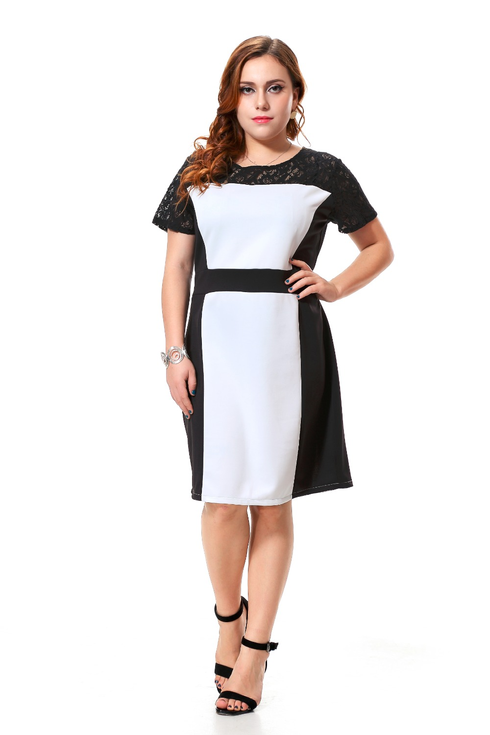 Plus size casual dress women with black lace patchwork sexy short sleeve party dress black and ...