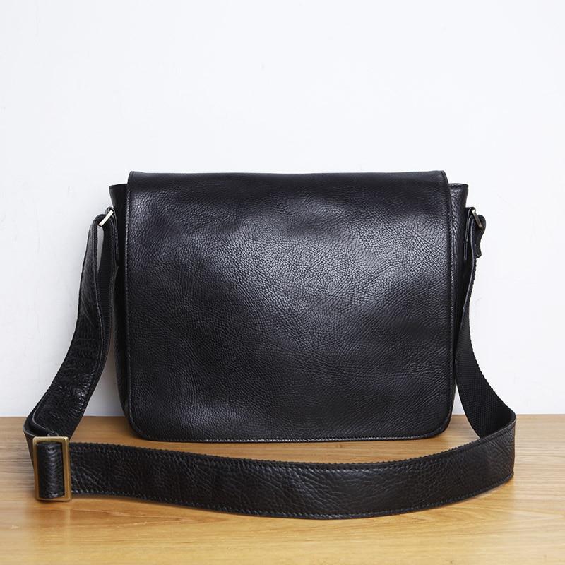 LANSPACE Genuine Leather Men's  Shoulder Bag Leisure Handbag Cow Leather Bag Japanese Style
