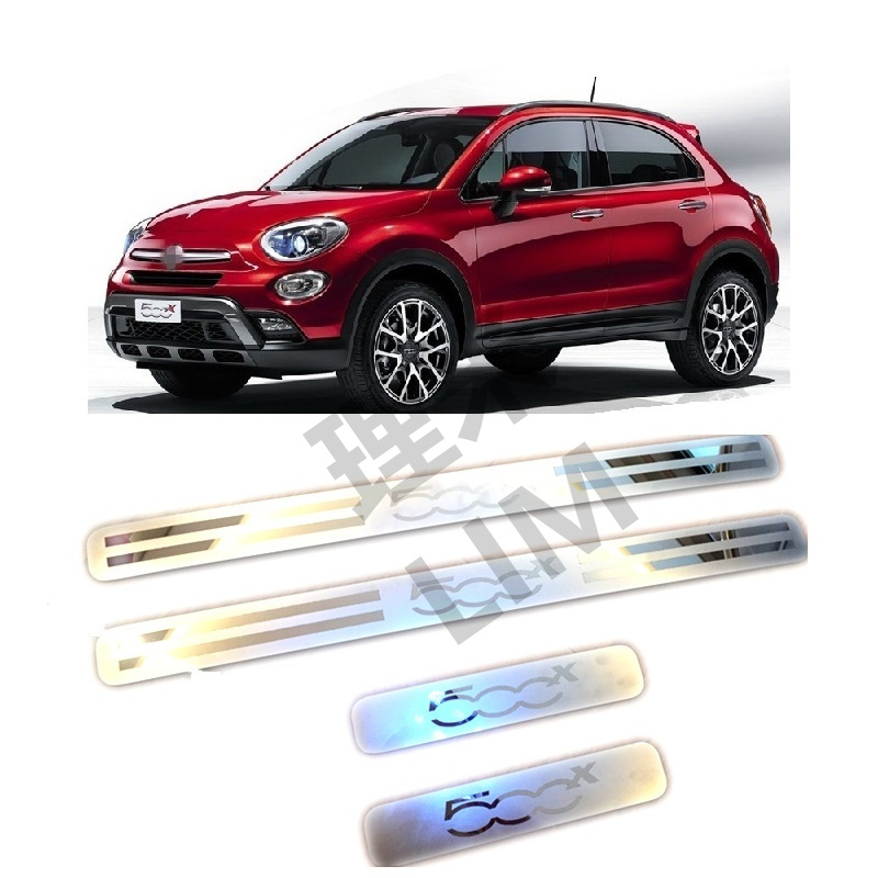Suitable for FIAT 500X Four Door Stainless Steel Scuff Plate Door Sill Cover Trim Car Accessories 2pcs set stainless steel 90 degree self closing cabinet closet door hinges home roomfurniture hardware accessories supply