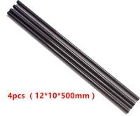 4 unidades/lotes noir en Fiber de carbone Tube 12 mm x 10 mm 3 K brillant mat Surface 500 mm Long bar de vélo pour RC avion Multicopter Arm bricolage