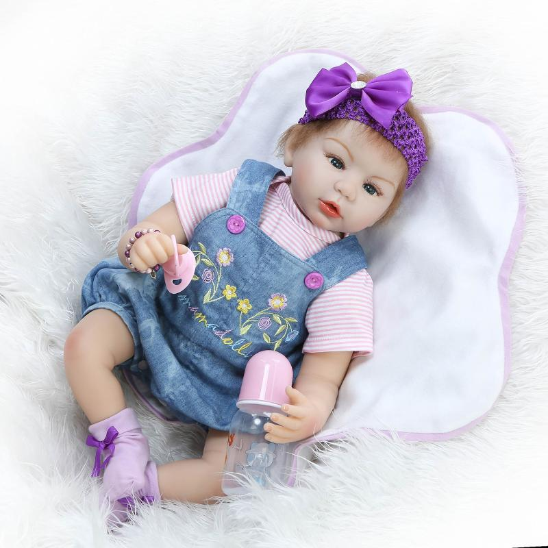 22inch Silicone reborn baby doll 55cm handmade lifelike baby girl doll soft vinyl reborn newborn dolls with clothes Bonecas 22inch reborn baby doll kits silicone vinyl head 3 4 arms and legs baby dolls lifelike doll accessories bonecas brinquedos