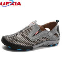 UEXIA Breathable Men Shoes Summer Slip On Beach Shoes Flats Ladies Walking Water Mesh Casual Zapatillas