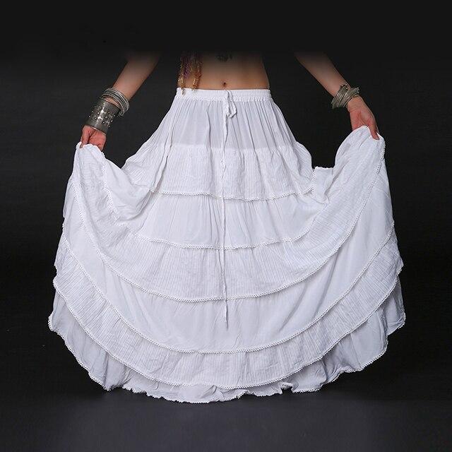 Femmes ATS Tribal Bellydance jupe Double couches imprimé coton espagnol Flamenco robe cercle complet danse du ventre gitane jupes