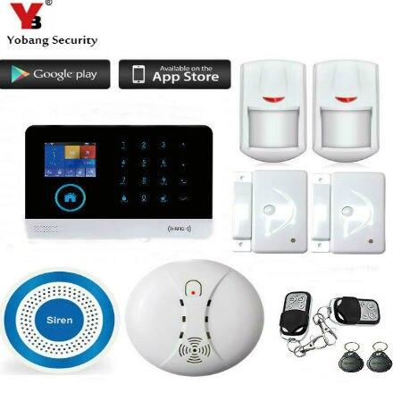 WIFI GSM Alarm Home Security Kit APP Control RFID LCD Stimme Touch Tastatur Alert System Einbrecher Alarm mit Innen Kamera