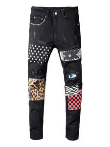 Sokotoo Black Jeans Pencil-Pants Stretch Slim-Fit Ripped Stars-Printed Denim Trousers