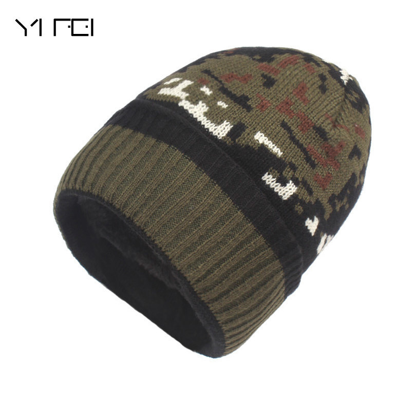 2018 Men   Skullies     Beanie   Knitting Wool Hat For Men Casual Warm Gorro Touca Masculina Inverno Winter Camouflage Knitted Hat