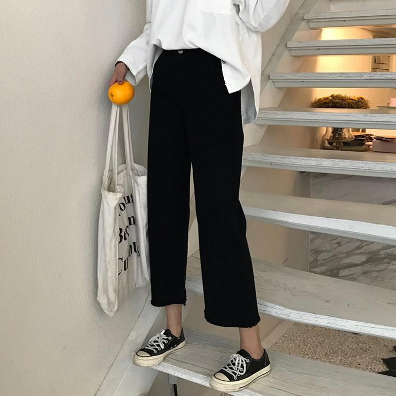 Wide Leg women Denim Jeans Ulzzang Donna Washed harajuku Pantalones Vaqueros Mujer Korean Elastic Roupa Feminin Trousers Calca