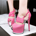 women fashion buckle strap pink high heel pumps bombas de las mujeres female thin heel party shoes lady casual platform shoes