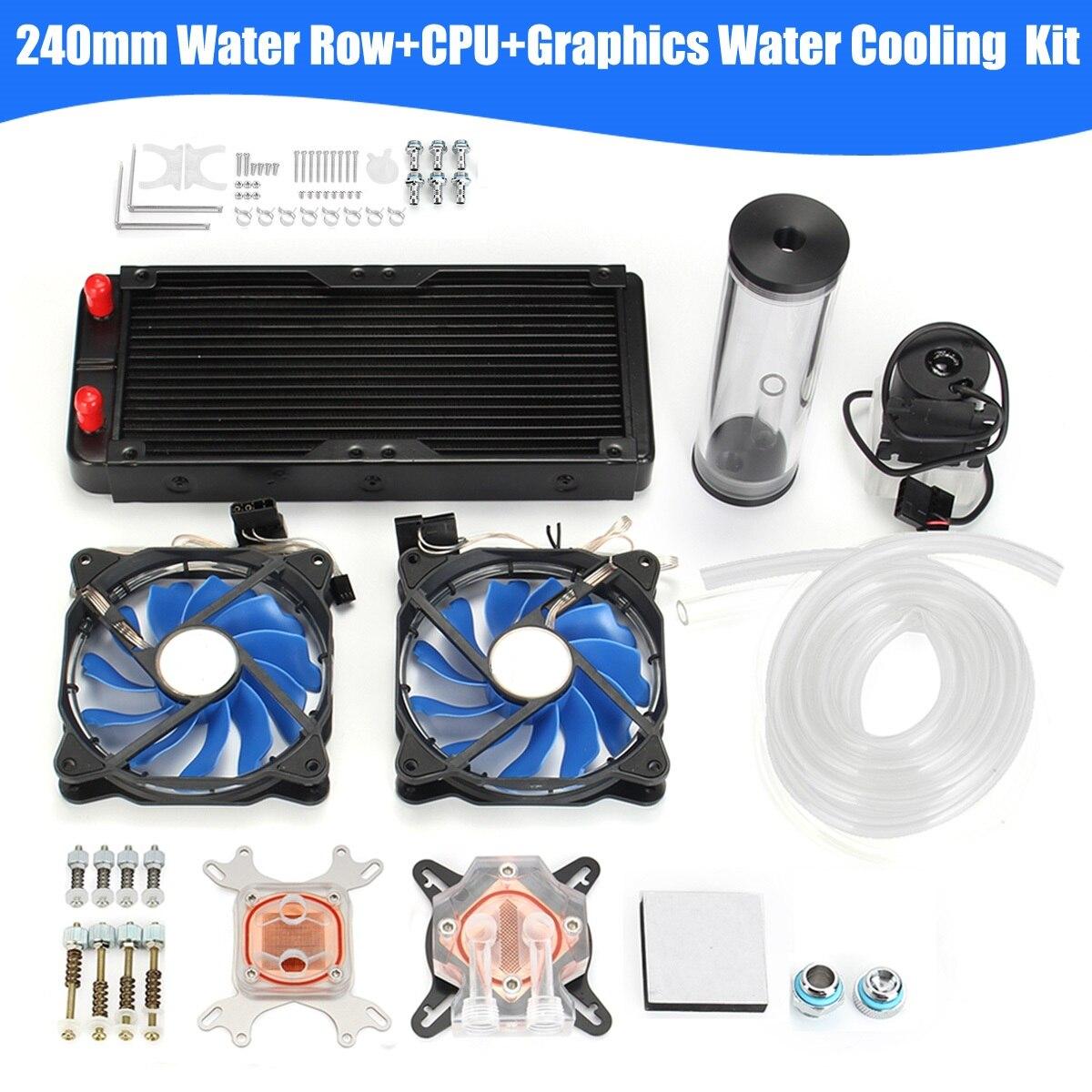 FAI DA TE Kit di Raffreddamento Ad Acqua del PC Con 240mm di Acqua Fila + Kit Sistema di Computer Radiatore di Raffreddamento Ad Acqua CPU Pompa Serbatoio dissipatore di calore