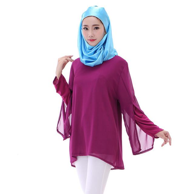 Vestuário muçulmano Moda Luva Longa Das Mulheres Plus Size Chiffon Camisa Tops Camisa longa blusa de Chiffon islâmico Muçulmano Islâmico topo