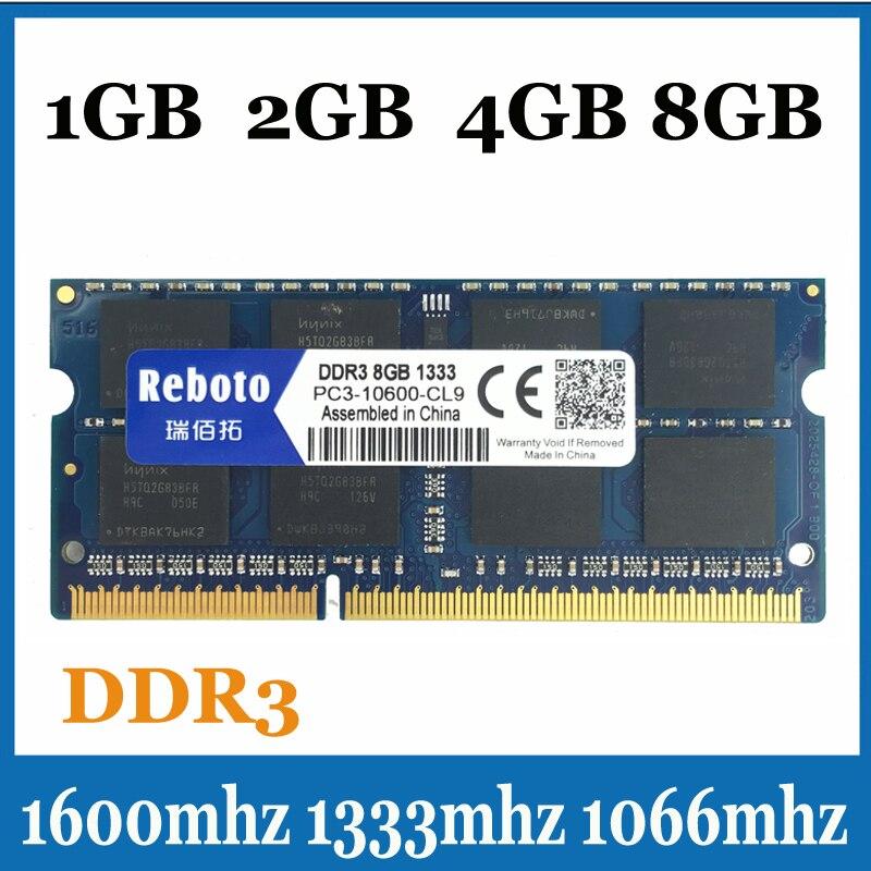 Reboto DDR3106613331600Mhz 2GB4GB8GB SODIMM Memory Ram memoria For Laptop