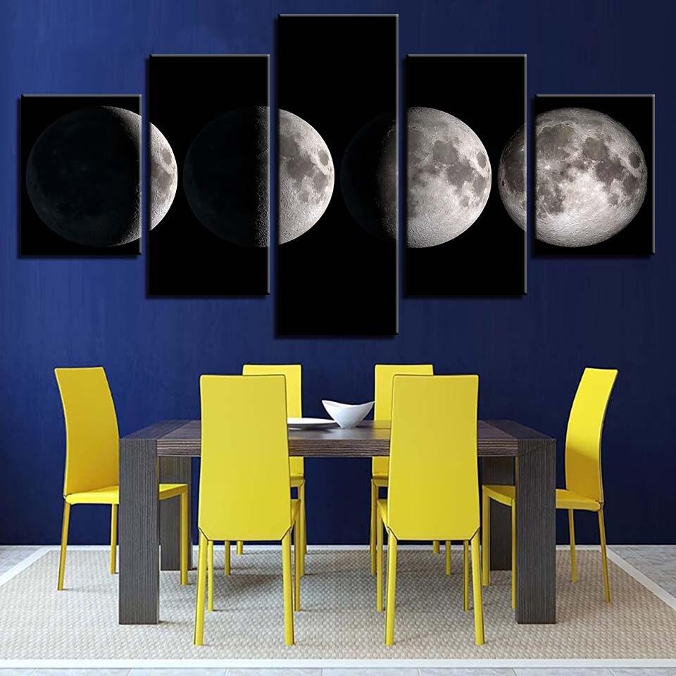 1d28b0a3c Arte Da Parede da lona Fotos Casa Decoração Quadro 5 Peças Lua Fase Lunar  Mudar Cartazes Pinturas Imprime HD Preto E Branco em Pintura & Caligrafia  de Home ...