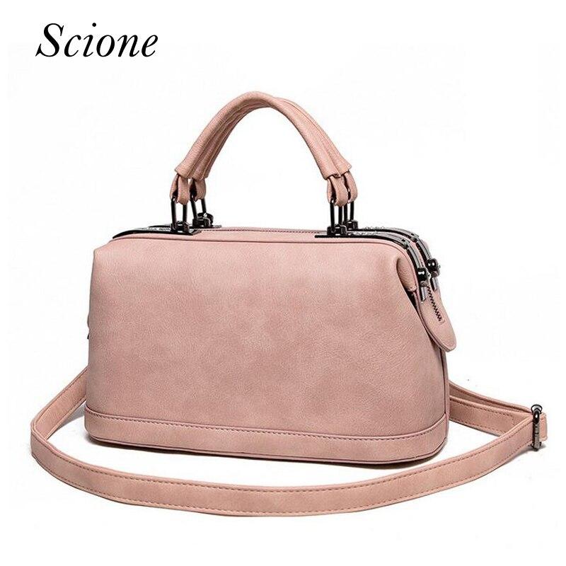 Fashion Brand Vintage Boston Doctor Handbags Women PU Leather Shoulder Messenger Shopping Tote Bag Bolsas Sac A Main Mujer Li162