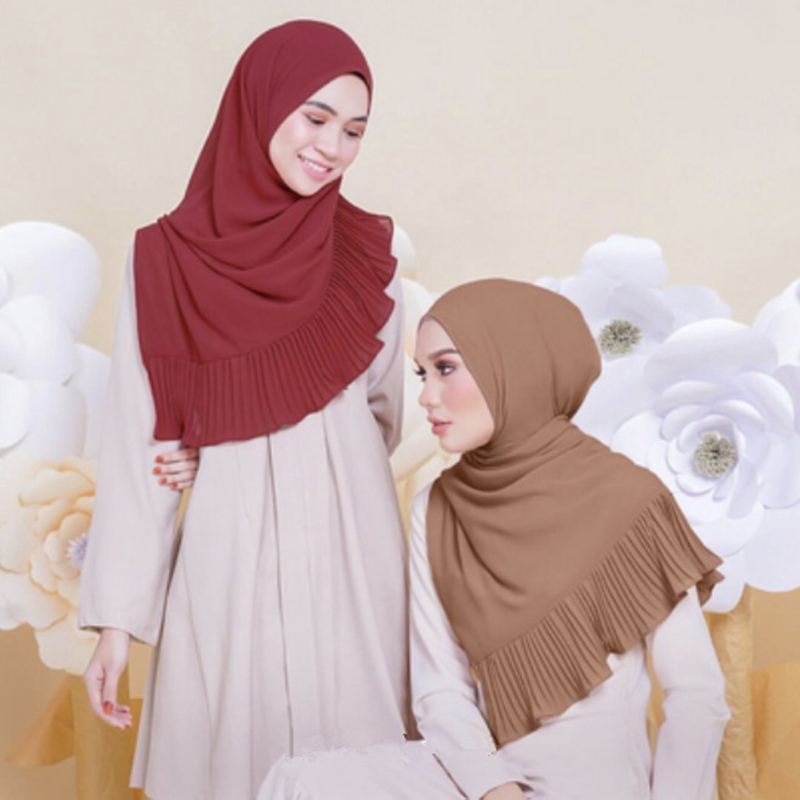 Muslim Lady Plain Pure Color Bubble Chiffon Hijab Scarf Long Big Shawl Head Cover Wraps Fashion All Match Hijabs Scarves