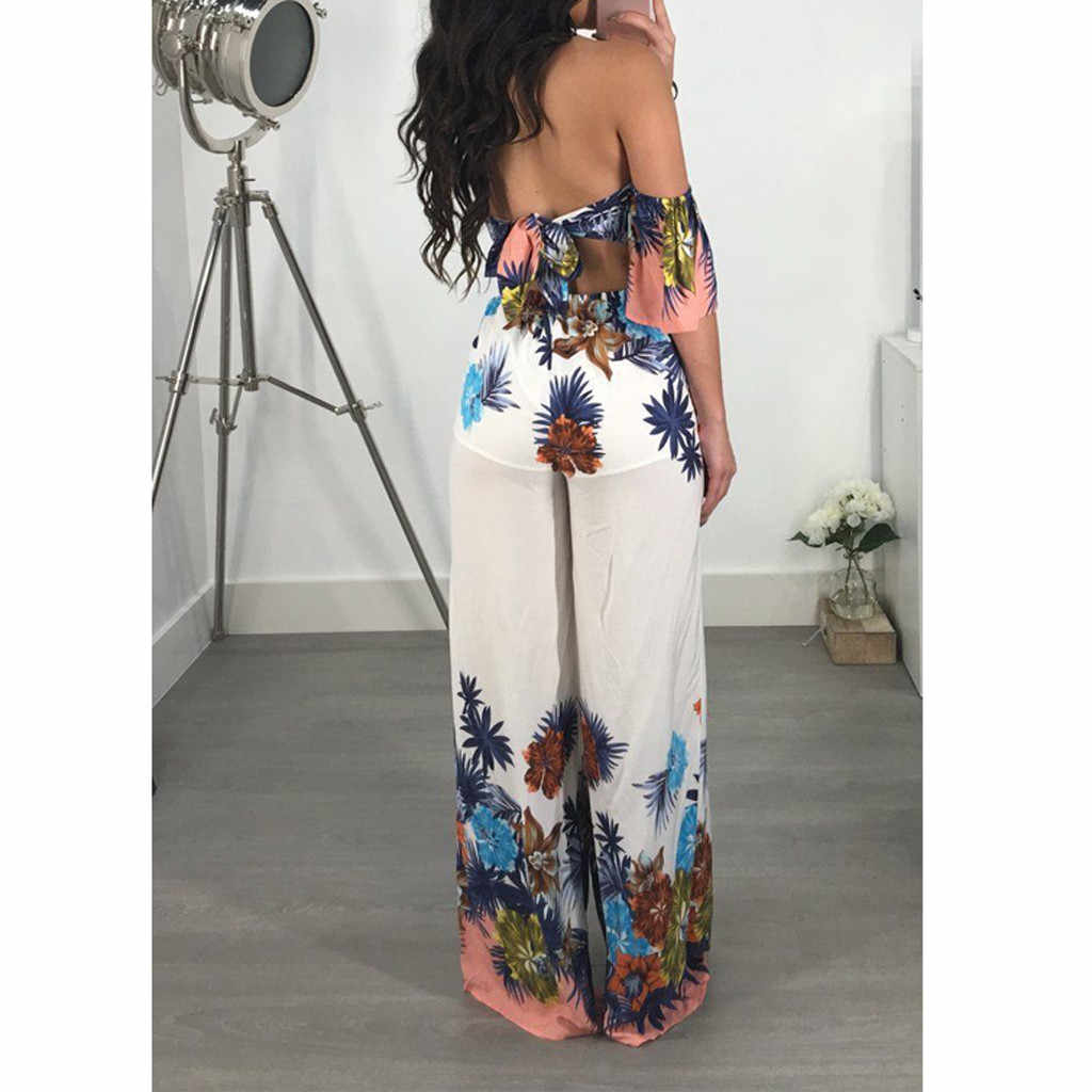 Women Sexy Strapless Off Shoulder Jumpsuit Short Sleeve Backless High Waist Trend Print Wide Leg Pants Party Overalls Playsuits
