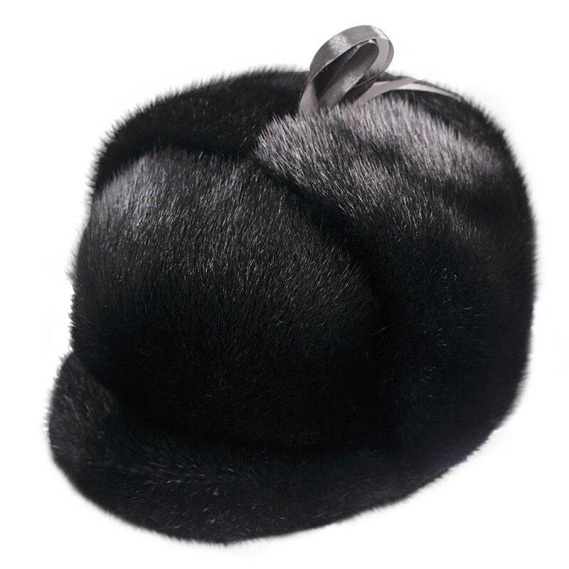 ZDFURS * hommes Artificielle de fourrure de vison chapeau Nouvelle Mode Hommes Vison De Fourrure D'hiver Chaud Chapeau/Cap Plat givré chapeau