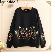 Japanese Women Harajuku Hoodies Women Flower Embroidery Loose Velvet Cashmere Sweatshirts Female Casual Fashion Tops