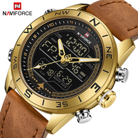 Men Watches NAVIFORCE Top Brand Luxury Leather Sports Wrist Watch Men Waterproof Military Quartz Digital Clock Relogio Masculino