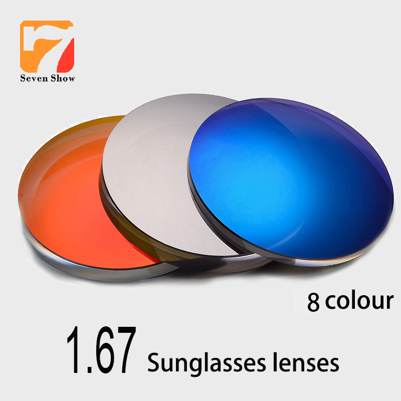 1.67 Ultra-thin CR-39 Mirror Colourful Coating Myopia Sunglasses Prescription Optical degree grade Lenses UV400 Anti-Glare