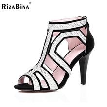 RizaBina women real genuine leather fretwork  peep toe high heel sandals sexy fashion brand lady heeled shoes size 30-45 R6918